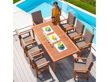 MERXX Gartenmöbelset »Montana«, 17-tlg., 8 Sessel, Tisch 220x110 cm, Eukalyptus, braun, braun