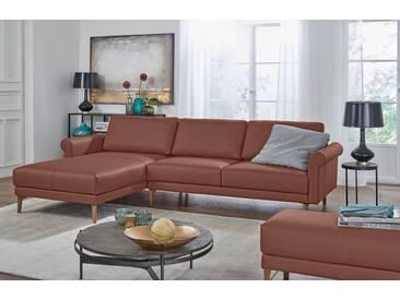Hülsta Sofa hülsta sofa Polsterecke »hs.450« im modernen Landhausstil, Breite 282 cm, braun, Recamiere links, signalbraun