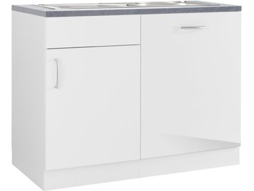 wiho Küchen Spülenschrank »Brüssel«, mit Tür/Sockel für Geschirrspüler, weiß, Weiß Glanz - APL Schiefer