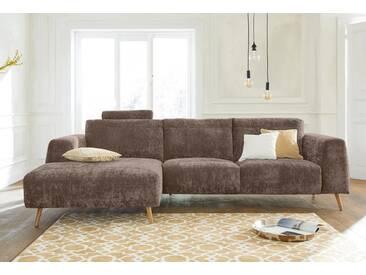 Guido Maria Kretschmer Home&Living GMK Home & Living Polsterecke »Logge«, natur, Recamiere links, mit Holzfüßen, sand