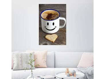 Posterlounge Wandbild - Thomas Klee »Becher mit Smiley Gesicht«, grau, Holzbild, 80 x 120 cm, grau
