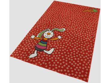 Sigikid Kinderteppich »Rainbow Rabbit«, rechteckig, Höhe 13 mm, rot, 13 mm, rot