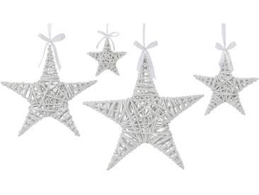 Deko-Hänger Stern aus Weide, 4-teilig, weiß, weiß