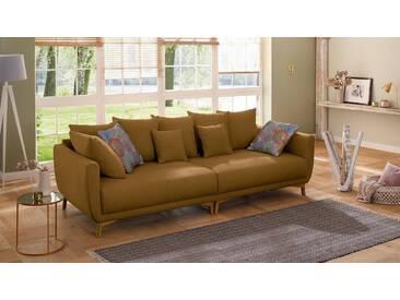 Home affaire Big-Sofa »Tilda«, mit losen Rückenkissen, Zierkissen, im skandinavischem Design, gelb, 262 cm, safran