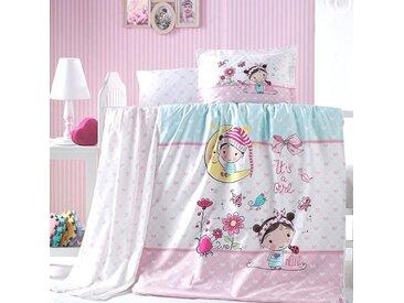 SEI Design Babybettwäsche »Bellini«, mit einem kleinen Mädchen, rosa, 1x 100x135 cm, Renforcé, rosa