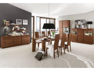 VENJAKOB Highboard »v-plus«, 3-türig, mit beidseitiger Seitenverglasung, Breite 183 cm, braun, ohne Spiegelrückwand, Nussbaum