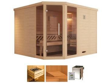weka WEKA Sauna »Brevik 2«, 238x188x199 cm, 45 mm, 7,5-KW-Bio-Kombiofen, natur, 7,5-kW-Bio-Kombiofen mit externer Steuerung, natur
