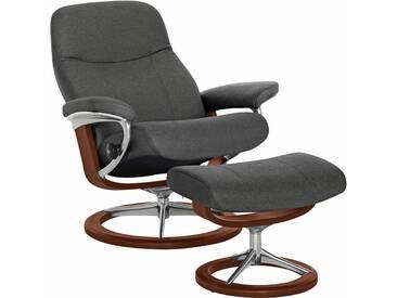 Stressless® Set: Relaxsessel mit Hocker »Garda« mit Signature Base, Größe S, mit Schlaffunktion, grau, Fuß braun, dark grey