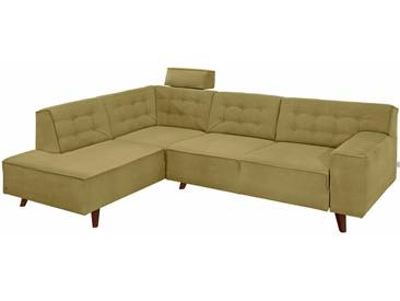 Tom Tailor Ecksofa »Nordic Chic«, grün, 249 cm, Ottomane links, gold mustard STC 13