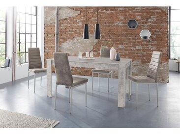 Essgruppe »Lynn160/Kate«, (Set, 5-tlg), Tisch mit 4 Stühlen, grau, Beton optik-Hellgrau
