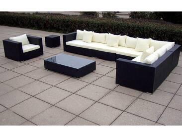 Baidani BAIDANI Loungeset »Sunmaster«, 1 XXL Sofa, 1 Sessel, 1 Tisch, 1 Beistelltisch, Polyrattan, schwarz, schwarz/cremefarben