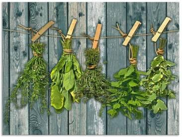 Artland Küchenrückwände »Team 5: Kräuter mit Holzoptik«, grün, 60x80 cm, Grün