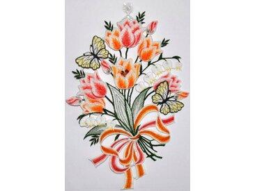 Stickereien Plauen Fensterbild »Fensterbild Blüten« (1 Stück), bunt, 22x33 cm, Hakenaufhängung, bunt