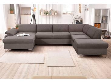 DOMO collection Wohnlandschaft, grau, 352 cm, Recamiere links, grau