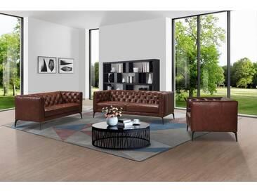 Leonique 3-Sitzer »Narmada« im Chesterfield-Design, braun, braun
