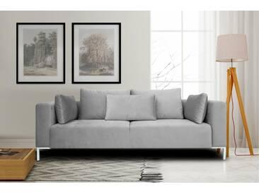 INOSIGN 3-Sitzer »Perle« in tollem Design, Metalbeine, Zierkissen, grau, hellgrau