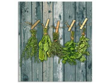 Artland Küchenrückwände »Team 5: Kräuter mit Holzoptik«, grün, 65x60 cm, Grün