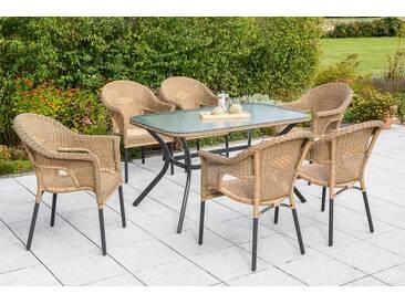 MERXX Gartenmöbelset »Ravenna«, 7tlg., 6 Sessel, Tisch, stapelbar, Polyrattan, natur, natur