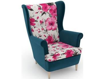 Max Winzer® build-a-chair Ohrensessel »Casimir« im Winchester-Look, zum Selbstgestalten, rosa, Korpus: Samtvelours petrol, Microvelours Blüte pink
