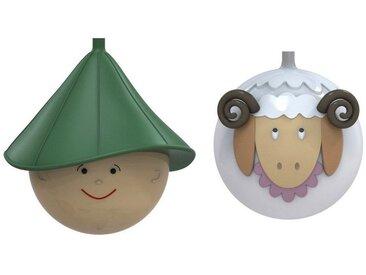 Alessi  Weihnachtsbaumkugel Set Schaf & Schäfer, bunt, Farbig