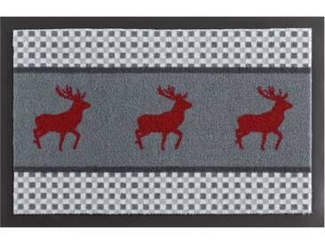 HANSE Home Fußmatte »Hirsch Deer«, rechteckig, Höhe 7 mm, rutschhemmend beschichtet, grau, 7 mm, grau-rot