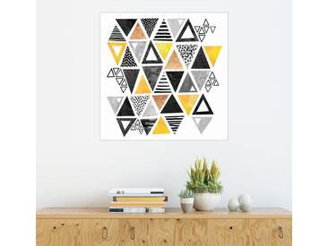Posterlounge Wandbild - Elisabeth Fredriksson »Triangle abstract Black and yellow«, weiß, Alu-Dibond, 100 x 100 cm, weiß