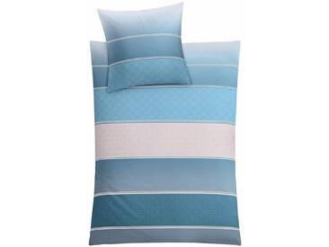 Kleine Wolke Bettwäsche »Decado«, in verspielten Streifen, blau, 1x 155x220 cm, Mako-Satin, blau