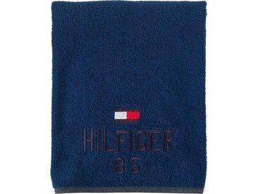 TOMMY HILFIGER Saunatuch »Optimistic«, mit gesticktem Schriftzug und Tommy Flagge, blau, blue