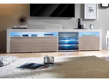borchardt Möbel Borchardt Möbel Lowboard, Breite 200 cm, weiß, weiß Hochglanz/softgrau Hochglanz Riffel-Optik