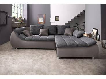 BENFORMATO CITY COLLECTION Ecksofa, grau, 278 cm, Recamiere rechts, grau/dunkelgrau