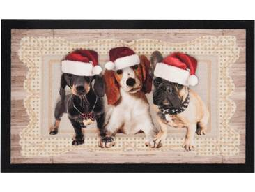 HANSE Home Fußmatte »Christmas Dogs II«, rechteckig, Höhe 7 mm, braun, 7 mm, braun