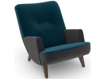 Max Winzer® build-a-chair Loungesessel »Borano« im Retrolook, zum Selbstgestalten, grün, Korpus: Samtvelours anthrazit, Samtvelours petrol