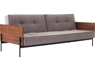 INNOVATION™ Schlafsofa »Splitback« mit mattschwarzen Beinen, in skandinavischen Design, grau, grey