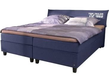 Tom Tailor TOM TAILOR Boxspringbett »COLOR BOX«, Webstoff, mit »TOM TAILOR« Print, Überlänge 220 cm, blau, 2 Matratzen H2, navy TTI 6