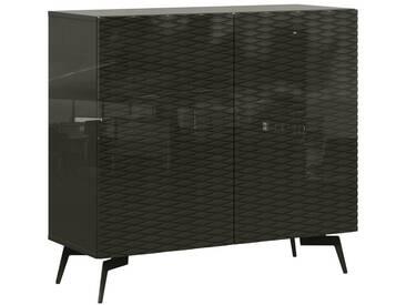 Bruno Banani bruno banani Sideboard »Design 4«, mit 3D-Fronten in Hochglanz, in zwei Breiten, grau, 2 Türen (105/42/97 cm), graphit Hochglanz