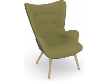 Max Winzer® build-a-chair Hochlehner Stuhlsessel »Arne« im Retrolook, zum Selbstgestalten, grün, Korpus: Flachgewebe 16452 grau