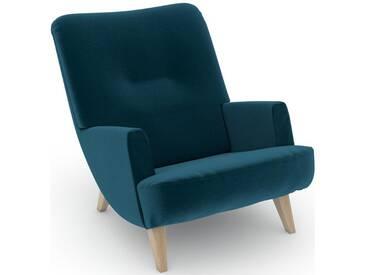 Max Winzer® build-a-chair Loungesessel »Borano« im Retrolook, zum Selbstgestalten, grün, Korpus: Samtvelours petrol, Samtvelours petrol