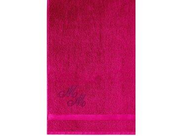 Lashuma Badetuch »Linz«, XXL Saunahandtuch Bestickt mit Monogramm, Persönliches Liegetuch 100x150 cm, lila, purpur