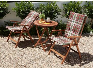 MERXX Gartenmöbelset »Borkum«, 5-tlg., 2 Hochlehner, Tisch Ø 65 cm, klappbar, Eukalyptus, braun, braun