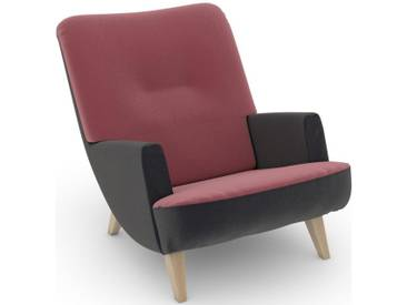 Max Winzer® build-a-chair Loungesessel »Borano« im Retrolook, zum Selbstgestalten, rosa, Korpus: Samtvelours anthrazit, Samtvelours rosé