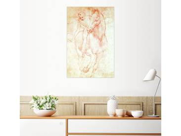 Posterlounge Wandbild - Leonardo da Vinci »Studie eines Pferdes mit Reiter«, natur, Leinwandbild, 120 x 180 cm, naturfarben