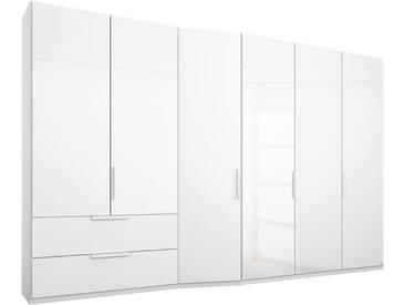 rauch PACK´S Kleiderschrank »Wave«, weiß, 297 cm, Schubkästen links, Weiß/Weißglas matt