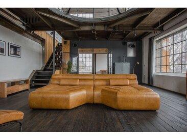 KAWOLA XXL Big Sofa Leder inkl. Kissen versch. Farben »TARA«, braun, cognac
