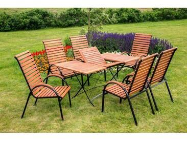 MERXX Gartenmöbelset »Schloßgarten«, 7tlg., 6 Sessel, Tisch, stapelbar, klappbar, ausziehbar, natur, natur