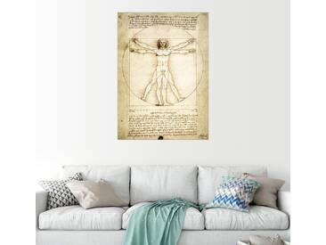 Posterlounge Wandbild - Leonardo da Vinci »Der vitruvianische Mensch«, natur, Holzbild, 30 x 40 cm, naturfarben