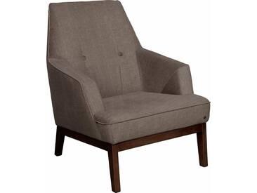 TOM TAILOR Sessel »COZY«, im Retrolook, mit Kedernaht und Knöpfung, Füße nussbaumfarben, braun, brown TUS 4