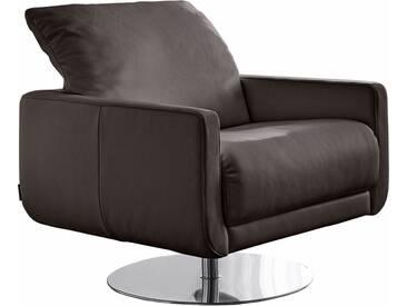 W.SCHILLIG Armlehnen-Sessel »mademoiselle« mit Kopfstützenverstellung und Drehteller, braun, braun