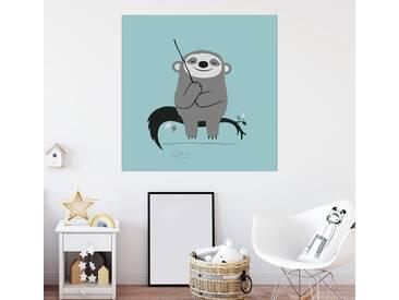 Posterlounge Wandbild - Greg Abbott »Entspanntes Faultier«, bunt, Leinwandbild, 70 x 70 cm, bunt