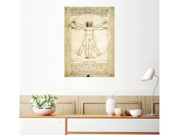 Posterlounge Wandbild - Leonardo da Vinci »Der vitruvianische Mensch«, natur, Holzbild, 120 x 170 cm, naturfarben