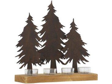 Teelichthalter mit Tannenbäumen, braun, braun